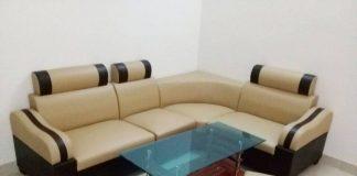 Thanh lý Ghế Sofa da góc kem pha đen giá rẻ
